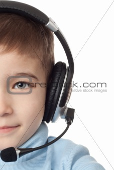 Boy in headphones with microphone