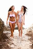 Attractive Women Wearing Bikinis Walking