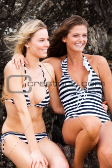 Attractive Young Women Wearing Swimsuits