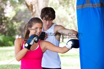 Young Couple Practicing Boxing
