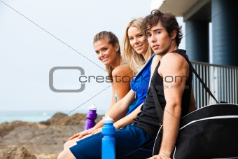 Three Young People at the Beach