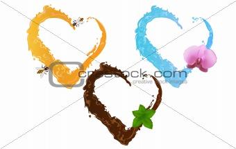 Three liquid hearts (chocolate, honey and water)