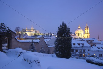 prague - hradcany castle and st. nicolaus church in winter