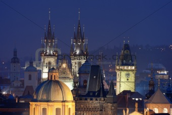 czech republic, prague - spires of the old town and tyn church