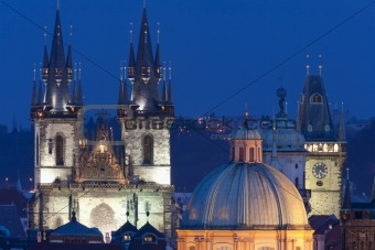 czech republic, prague - illuminated spires of the old town in winter