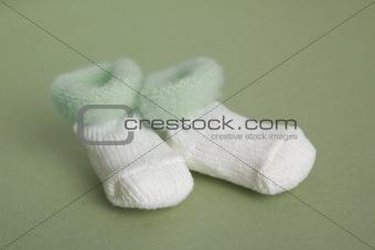 Green baby booties