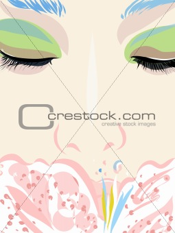 A close up of a woman smelling a flower