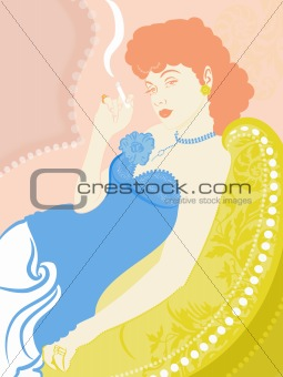 A retro illustration of a woman smoking a cigarette