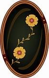 Flowers on dark backgroubd in oval frame