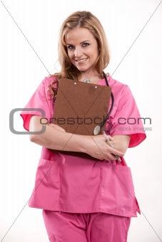 Attractive caucasian nurse doctor