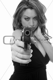 Attractive woman with a gun