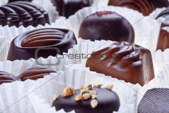 assortment of delicious dark chocolate pralines