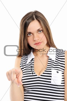 Portrait of an attractive young woman pointing her finger