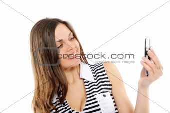 beautiful business woman speaks by phone,