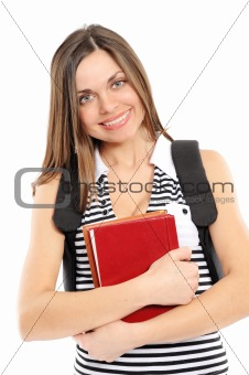 beautiful girl with a backpack, holds the book,