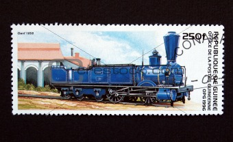 Guinea stamp with train