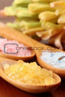 Bath salt in wooden spoons