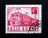 Romania stamp with train