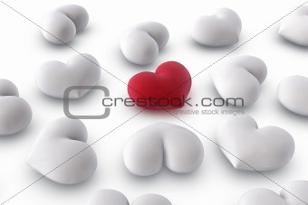 one red heart among several white hearts