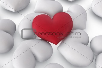 single red heart on white hearts