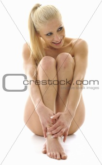 attractive blonde isolated on white
