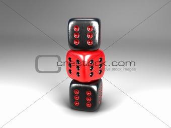 three dice all six