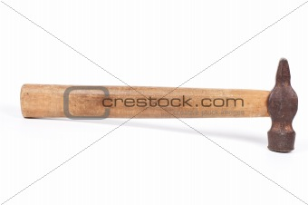 Old hammer isolated on a white background shadow below.