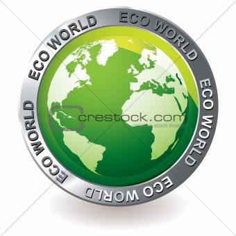 green icon eco earth globe