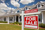 Foreclosure Home For Sale Real Estate Sign in Front of New House - Right Facing.