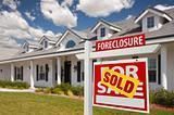 Sold Foreclosure Home For Sale Real Estate Sign in Front of New House -  Right Facing.