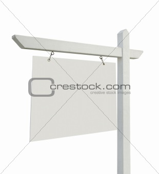Blank Real Estate Sign Isolated on White with Clipping Paths.