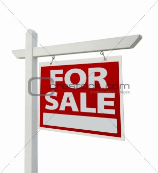 For Sale Real Estate Sign Isolated on a White Background with Clipping Paths - Facing Right.
