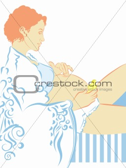 Pregnant woman use olive oil massaging her abdomen