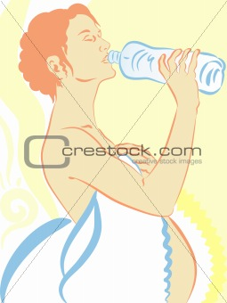 An expectant mother drinking mineral water