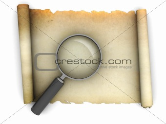 old paper scroll with magnify glass