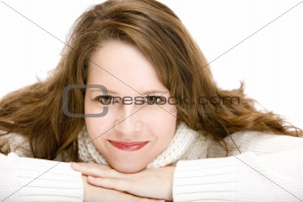 Portrait of young attractive happy Woman with pullover