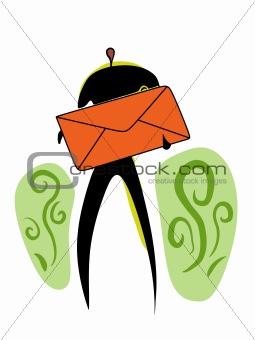 postman with big red envelope