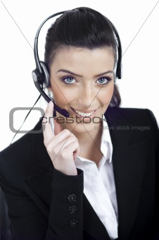 Call center woman dealing with the customer wearing headset