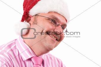 Smiling business santa