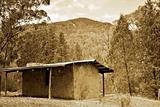 sepia bush hut
