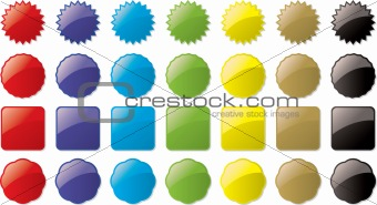 glass buttons colored