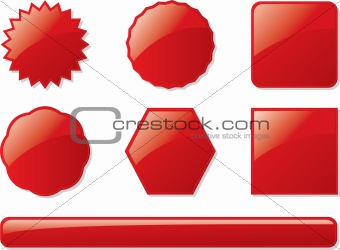 glass buttons red