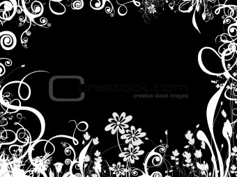 foliage border over black
