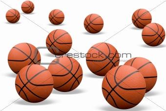 Basketballs with shadows