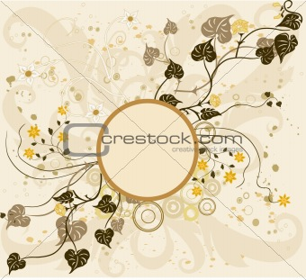 Abstract  floral frame, element for design - vector