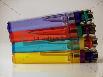 Four Colored Lighters