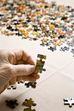 Elderly Caucasian woman's hand holding puzzle piece.