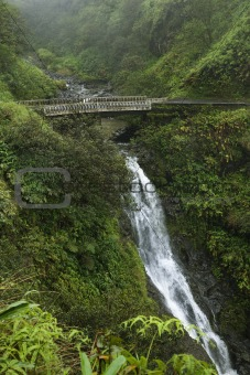 Waterfall on the Road to Hana, Hana Highway, Maui, Hawaii, USA.