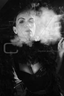 Retro female smoking.