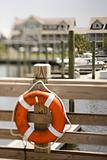 Life preserver on dock on Bald Head Island, North Carolina.